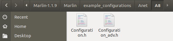 Marlin A8 configuration files source